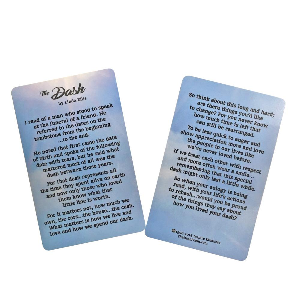 Dash Poem Reminder Cards (Pkg/25) - SW Inspire | Inspire Kindness | The Dash Poem