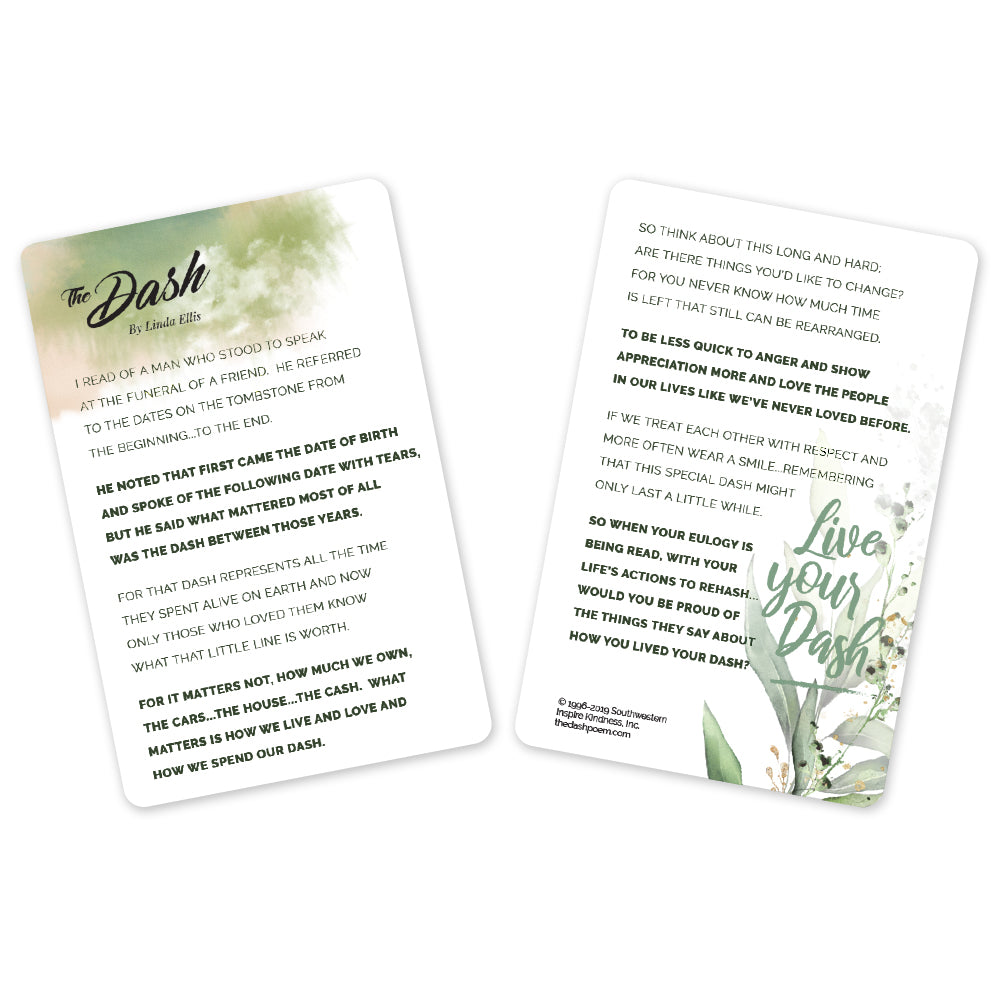 Dash Poem Reminder Cards (Pkg/25)