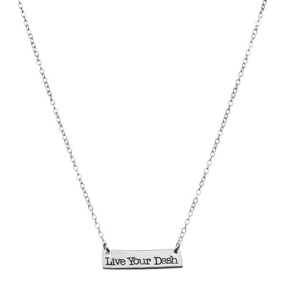Sterling Silver Nameplate Live Your Dash Necklace - SW Inspire | Inspire Kindness | The Dash Poem
