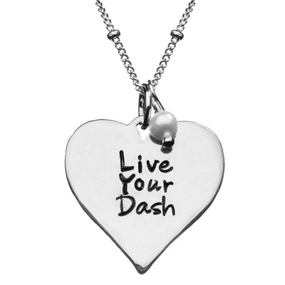 Live Your Dash Sterling Silver Heart Necklace with Pearl Charm - SW Inspire | Inspire Kindness | The Dash Poem