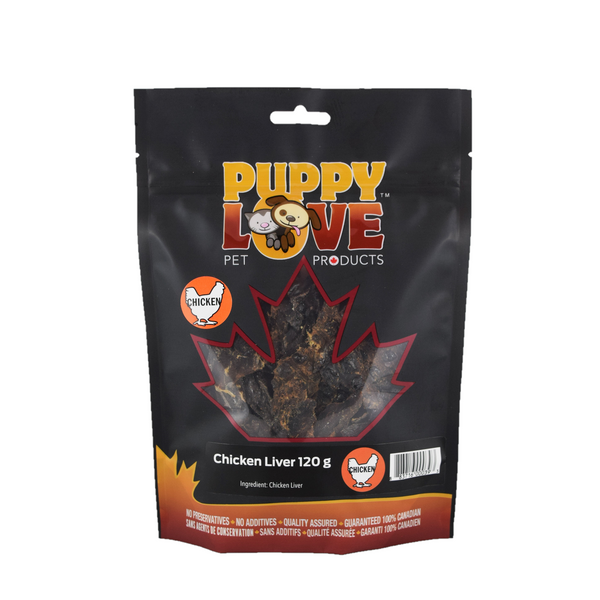 Puppy Love pet treats chicken liver in black bag
