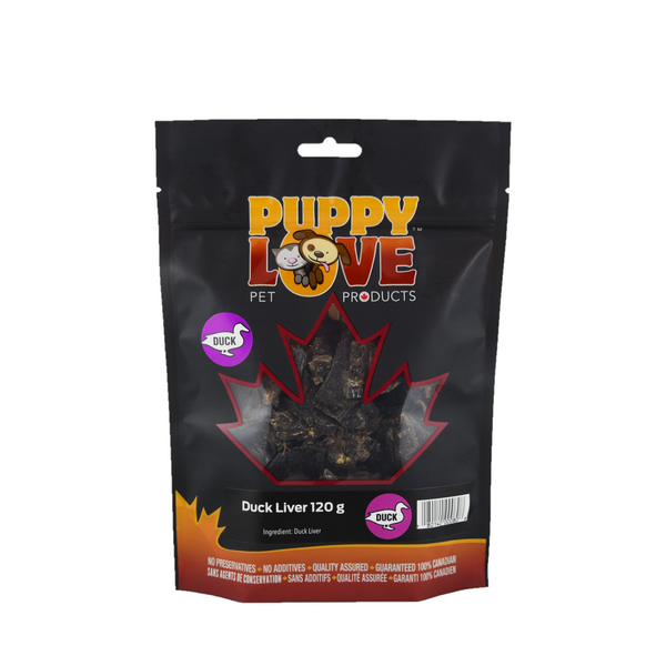Puppy Love pet treats duck liver in back bag