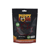 Puppy Love pet treats elk liver in black bag