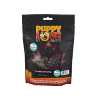 Puppy Love pet treats turkey liver in black bag