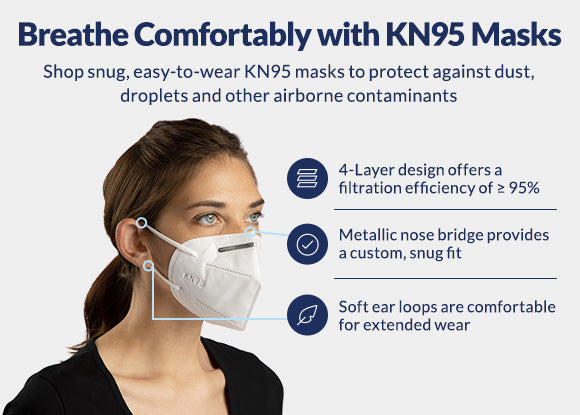 4 Layer KN95 Face Mask Dotted with Ear Loop, Pack of 2