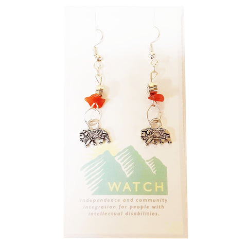 WATCH Resources Art Guild - Beaded Dangle Wire Hook Earrings Gemstone Orange Beads and Silver Elephant Charms by Amanda Ide