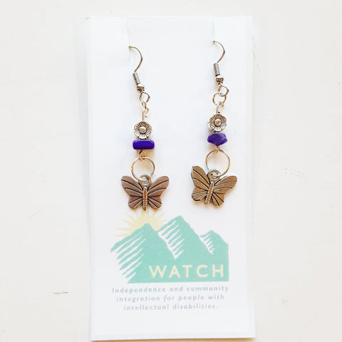 WATCH Resources Art Guild - Sonora, CA - Beaded Dangle Wire Hook Earrings Gemstone Purple Silver Flower Beads and Butterfly Charms by Amanda Ide AI_9-22-2020