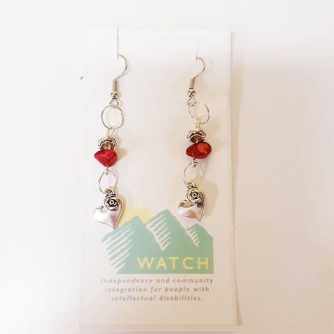 WATCH Resources Art Guild - Sonora, CA - Beaded Dangle Wire Hook Earrings Gemstone Red Beads and Silver Heart Charms by Amanda Ide AI_9-22-2020_C