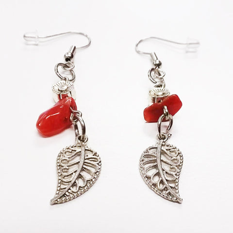 Beaded Dangle Wire Hook Earrings Gemstone Red Silver Flower Beads and Leaf Charms by Amanda Ide
