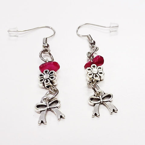 WATCH Resources Art Guild - Beaded Dangle Wire Hook Earrings Gemstone Red Silver Flower Beads and Ribbon Charms by Amanda Ide