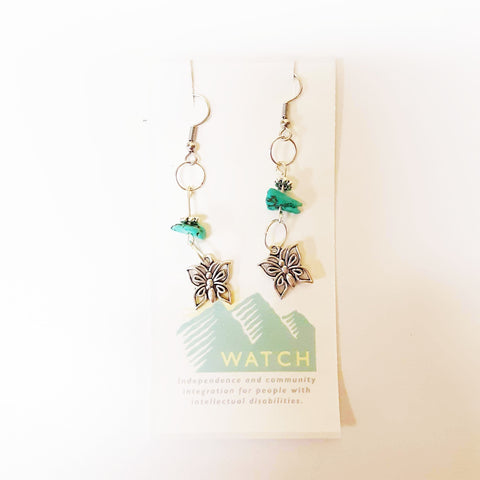 WATCH Resources Art Guild - Beaded Dangle Wire Hook Earrings Gemstone Turquoise Beads and Silver Butterfly Charms by Amanda Ide