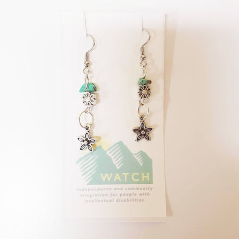WATCH Resources Art Guild - Beaded Dangle Wire Hook Earrings Gemstone Turquoise Beads and Silver Flower Charms by Amanda Ide