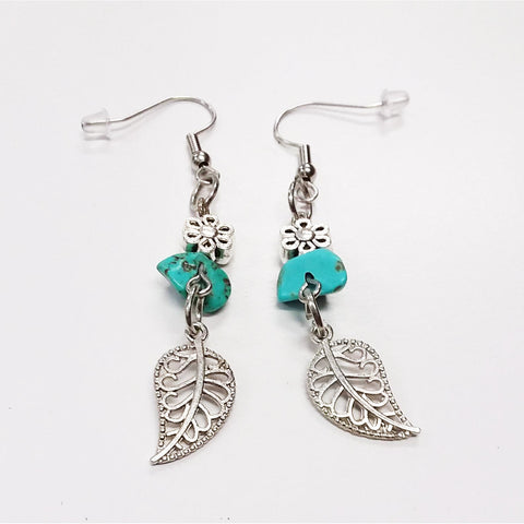 WATCH Resources Art Guild - Sonora, CA - Beaded Dangle Wire Hook Earrings Gemstone Turquoise Silver Flower Beads and Leaf Charms by Amanda Ide