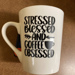 """Ceramic 12oz Coffee Mug White with Black Text Handmade """"Stressed Blessed and Coffee Obsessed"""" by Kourtney Ford Burns WR-1240"""