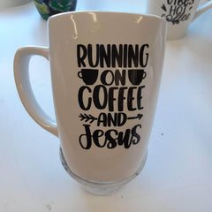 """Ceramic 12oz Mug White with Black Text Handmade """"Running on Coffee and Jesus"""" by Kourtney Ford-Burns WR-1224"""
