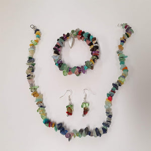 WATCH Resources Art Guild - Beaded Gemstone Jewelry Set Bracelet Memory Wire, Dangle Earrings, and Necklace with Charms by Karissa Archer