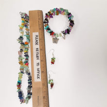 Load image into Gallery viewer, WATCH Resources Art Guild - Beaded Gemstone Jewelry Set Bracelet Memory Wire, Dangle Earrings, and Necklace with Charms by Karissa Archer