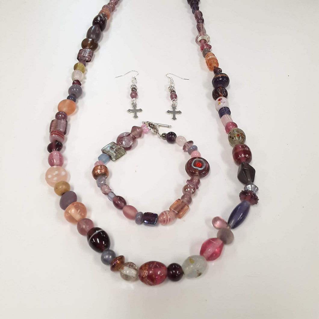 WATCH Resources Art Guild - Beaded Jewelry Set Bracelet, Dangle Earrings, and a Long Necklace with Cross Charms by Miguel Carrera