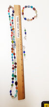 Load image into Gallery viewer, WATCH Resources Art Guild - Beaded Jewelry Set Bracelet with Toggle Clasp, Dangle Earrings, Long Necklace with Fairy Charms by Sharlotte Cotta Multicolor Theme