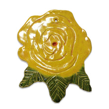 Load image into Gallery viewer, WATCH Resources Art Guild - Ceramic Arts Handmade Clay Crafts 6-inch x 5-inch Glazed Flower Rose by Eileen Shumate