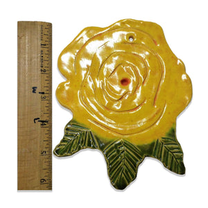 WATCH Resources Art Guild - Ceramic Arts Handmade Clay Crafts 6-inch x 5-inch Glazed Flower Rose by Eileen Shumate