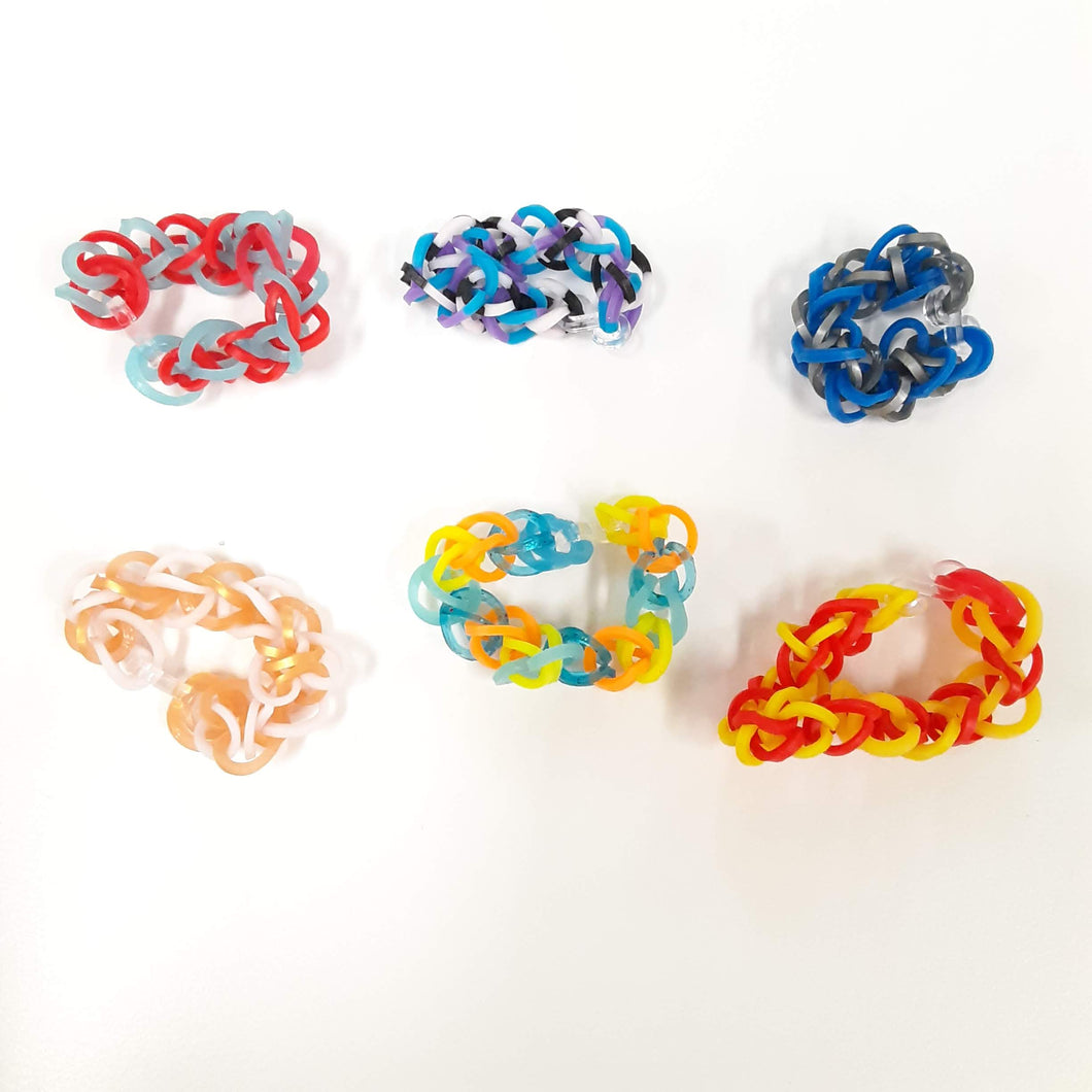 WATCH Resources Art Guild - Handmade Rubber Band Loom Jewelry - Pack of 6 Rings by Annika Kohler-Crowe