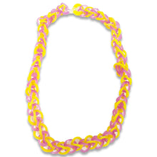 Load image into Gallery viewer, WATCH Resources Art Guild - Handmade Stretch Rubber Band Loom Necklace Jewelry Purple Yellow by Annika Kohler-Crowe