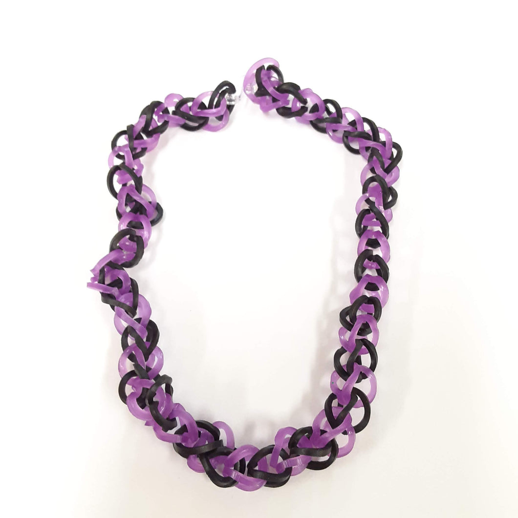 Handmade Stretch Rubber Band Loom Necklace Jewelry by Annika Kohler-Crowe - Black Purple