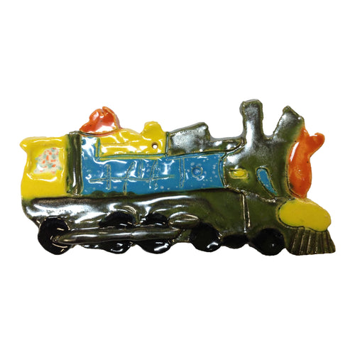 WATCH Resources Art Guild - Ceramic Arts Handmade Clay Crafts Locomotive Train 3.5-inch x 7-inch Glazed by Lisa Uptain