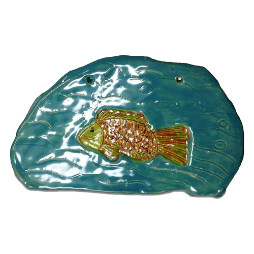 WATCH Resources Art Guild - Ceramic Arts Handmade Clay Crafts Fresh Fish 6-inch x 9.5-inch Glazed by Lisa Uptain