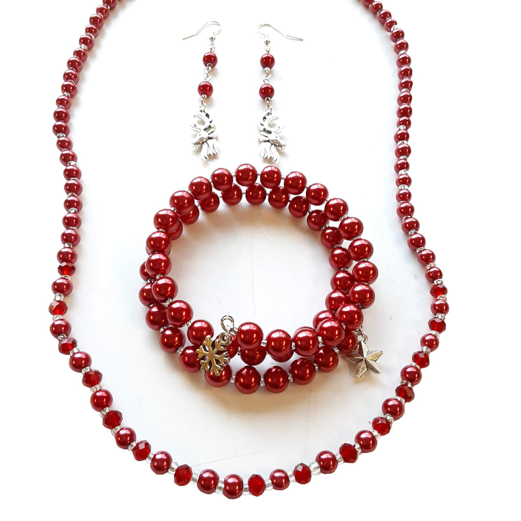 Beaded Jewelry Set Stretch Bracelet Memory Wire, Dangle Earrings, and Necklace by Miguel Carrera Holiday Winter Red