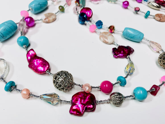 9 - NEW Pink and Turquoise Long Wrap Necklace