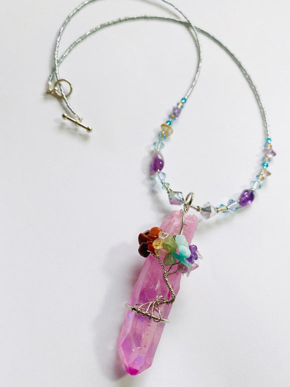 #02 - Amethyst Crystal Point Wrapped in Gems Pendant Necklace