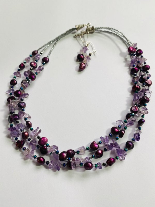 #05 - Amethyst In Freshwater Pearl Necklace & Earring Set