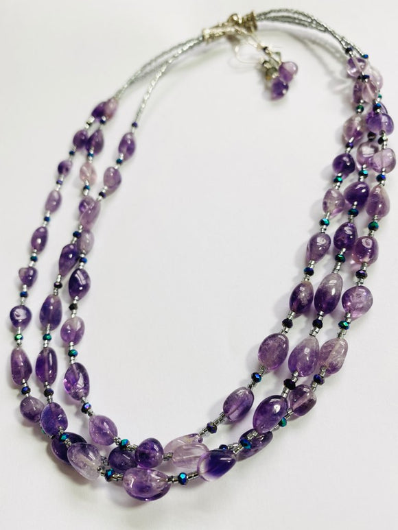 #06 - Tumbled Amethyst Necklace & Earrings