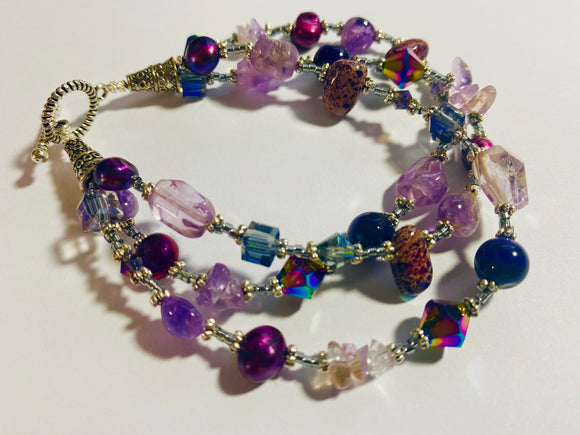 #19 - Eclectic Mixed Triple Strand Bracelet