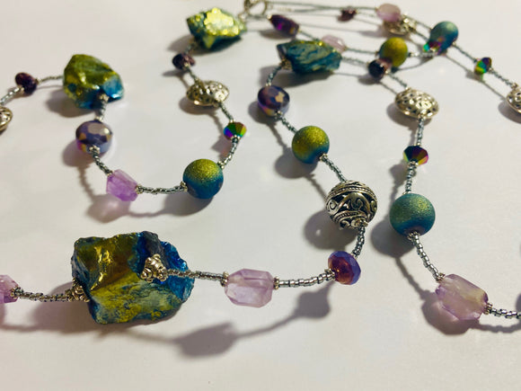 #20 - One of a Kind Long Wrap Necklace With Purples / Greens Lava