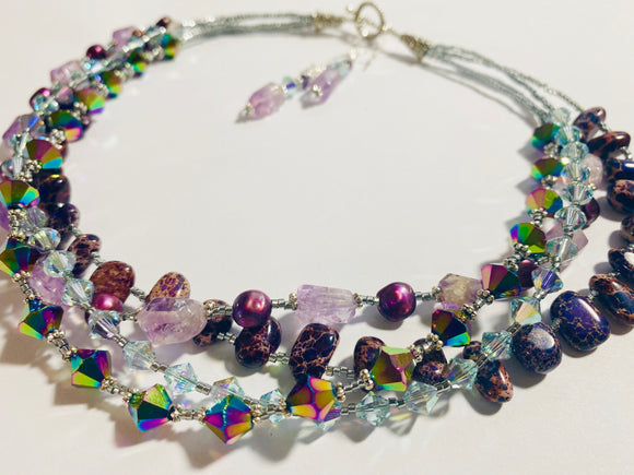 #21 - Four Strand Gemstone Necklace / Earrings Featuring Charoite & Amethyst PLUS EARRINGS!