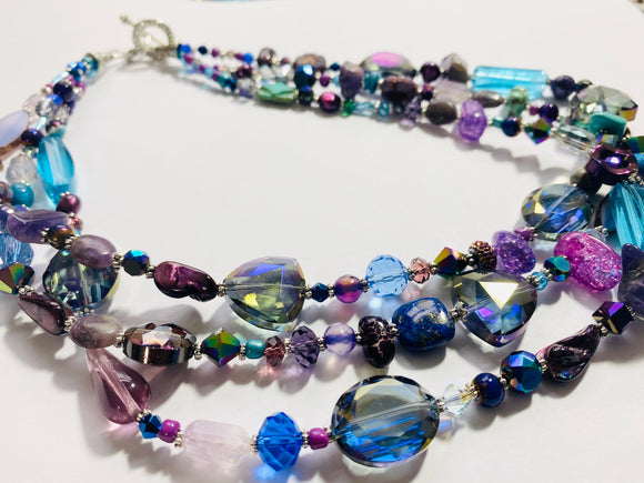 #24 - Eclectic Chunky Triple Strand Artist Mix Necklace
