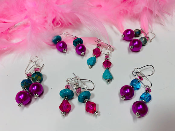 10 - Pink and Turquoise Earrings