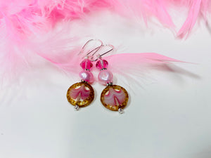 13 - Czech Pressed Glass Earrings w/ Swarovski Crystals AND Freshwater Pearls