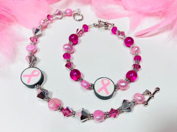 17 - Pink Ribbon Claybead w/ Crystals & Pearls