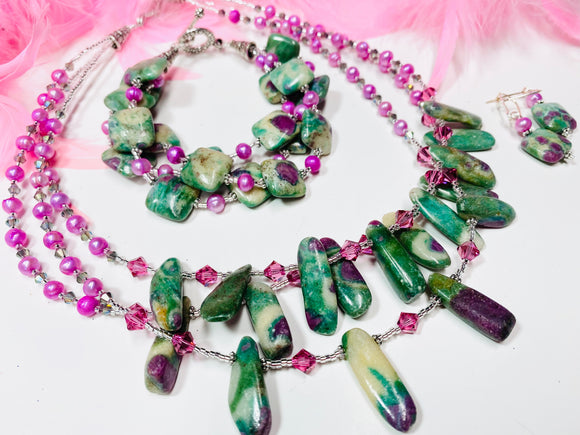 18 - ONE-OF-A-KIND! Ruby Zoisite Three Piece Gemstone SET!!!! DO NOT MISS