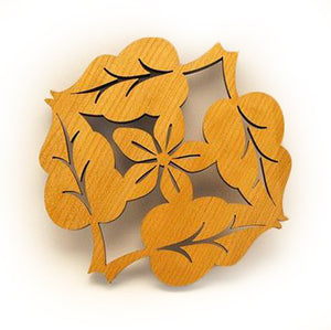 Laser Cut Wood 4 Leaf Flower Trivet