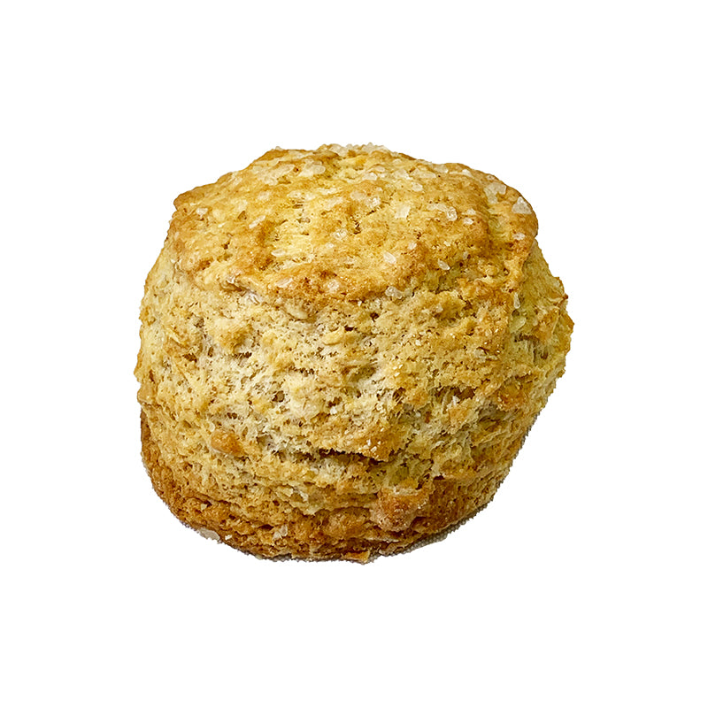 Image of an oatmeal scone topped with coarse sugar