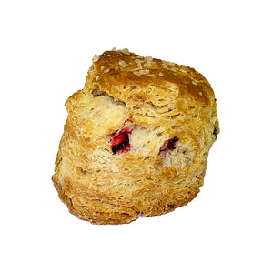 image of a scone with cranberries in it and topped with coarse sugar
