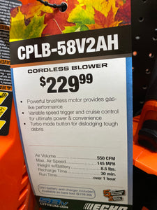 CPLB-58V Handheld Blower w/ 2Ah Battery and Charger
