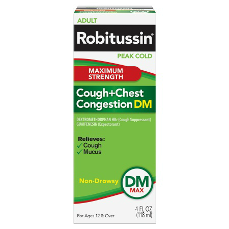 Robitussin - DM Maximum Strength Cough Chest Congestion - 4oz (118ml) (Case of 24)