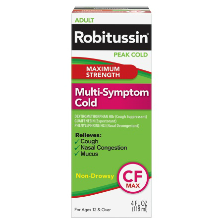 Robitussin - CF Peak Cold Multi Symptom Cold - 4oz (118ml) (Case of 24)