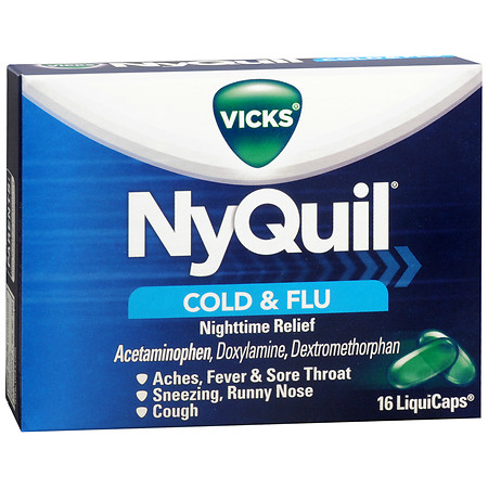 Vicks - Nyquil Cold & Flu Relief - 16 LiquiCaps (Case of 12)